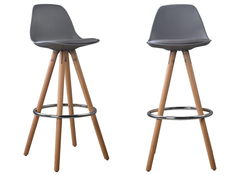 Lot de 2 tabourets de bar design scandinave nordique - Chaises de bar pieds ...