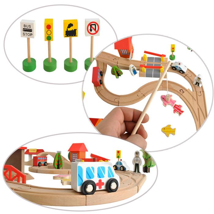Petit train en bois, circuit, signalétique, poissons