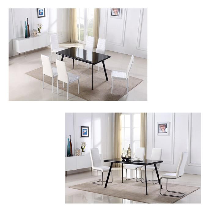Table de salle manger verre et m tal for Table salle a manger 80 cm largeur