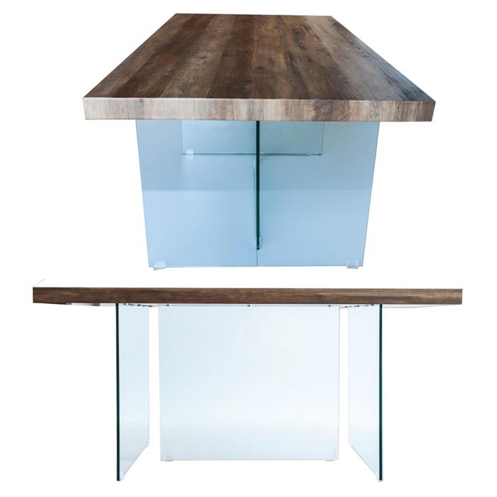 Table A Manger Plateau En Mdf Bois Pieds En Verre 160 X 90 X 75