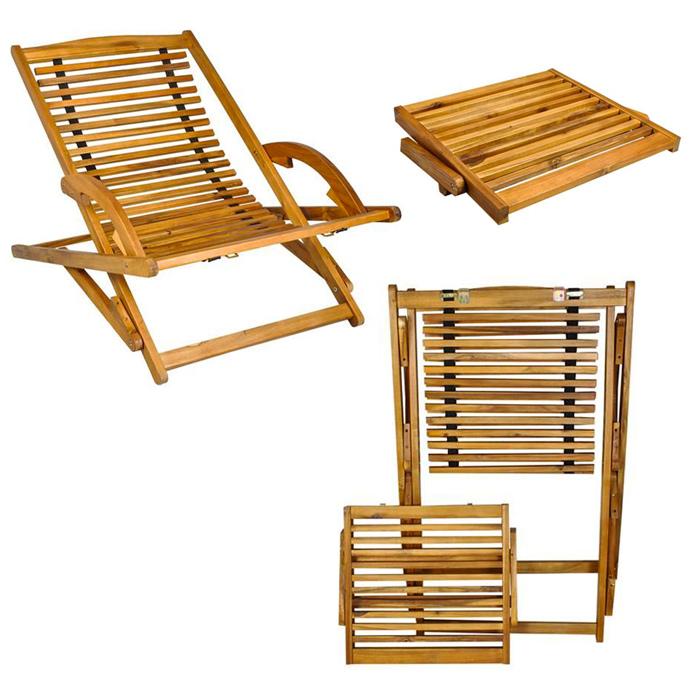 transat en bois chaise longue bain de soleil avec repose pieds marron. Black Bedroom Furniture Sets. Home Design Ideas
