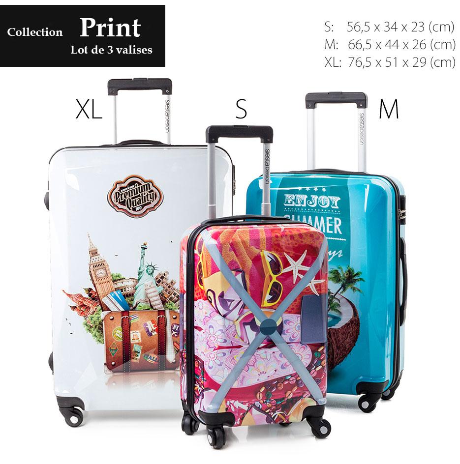 Valise siesta design super lot de 3 valises tendance - Lot de valise ...