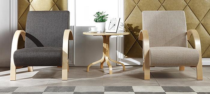 fauteuil sofa design bois et tissu gris vente de monmobilierdesign conforama. Black Bedroom Furniture Sets. Home Design Ideas