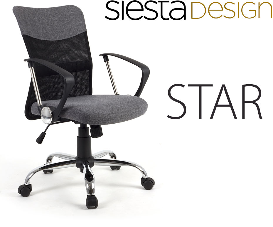 chaise star gris et noir si ge fauteuil de bureau ergonomique confort et support du dos tilt. Black Bedroom Furniture Sets. Home Design Ideas
